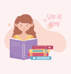 Stay at home young woman with stack books vector