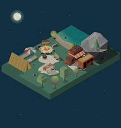 Stay at night on campground isometric vector