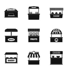 Street shop icons set simple style vector