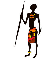 Stylized african male hunter vector