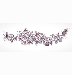 Stylized rose flowers bouquet branch of flowers vector