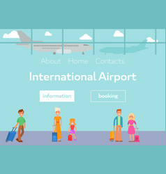 tourists in international airport terminal with vector image