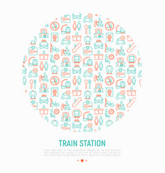 train station concept in circle vector image