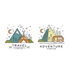 travel logo design set adventures camping badges vector image