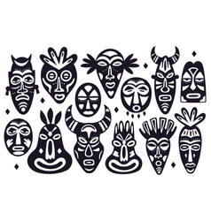 tribal masks silhouettes african ancient totem vector image