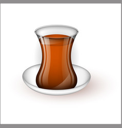 turkish cup with tea on a saucer vector image