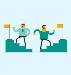 Two businessmen running up to the top of stairway vector