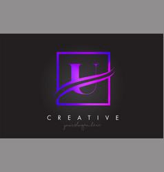 u purple violet letter logo design with square vector image