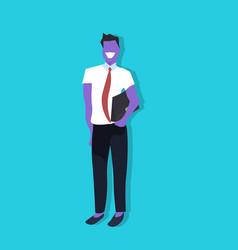 violet businessman holding suitcase hand pocket vector image