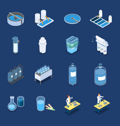 water cleaning systems isometric icons vector image