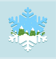 winter forest - christmas trees pines inside vector image