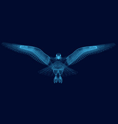 wireframe of an eagle has spread its wings 3d vector image