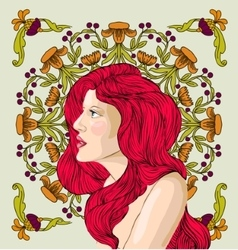 Woman with red hair vector