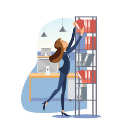 young businesswoman working with documents vector image