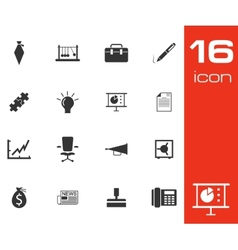 black business icons set on white background vector image vector image