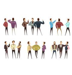 groups of businessmen cartoon style set vector image