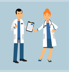 two doctors characters in a white coats standing vector image vector image
