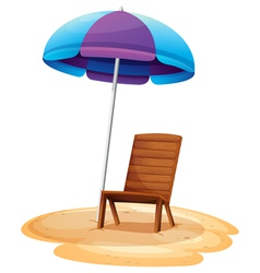 A stripe beach umbrella and a wooden chair vector image