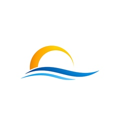 abstract water beach sunset logo vector image vector image