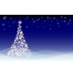 Christmas card with fir tree and snowdrifts vector image