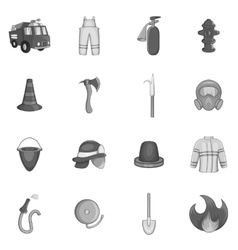 Firefighting icons set black monochrome style vector image vector image