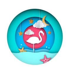 flamingo cartoon paper landscape vector image vector image