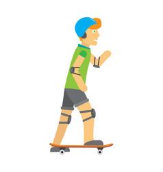 guy in helmet elbow and knee pads skateboarding vector image