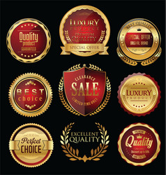 premium and luxury golden retro badges and labels vector image
