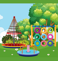 scene of playground with many stations vector image