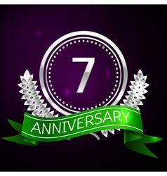 Seven years anniversary celebration with silver vector image vector image