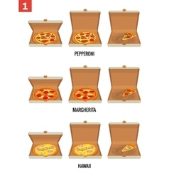 Whole pizza and slices of pizza in open and semi vector image vector image