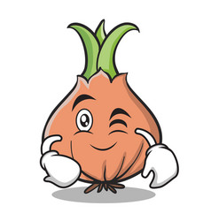 wink face onion character cartoon vector image vector image