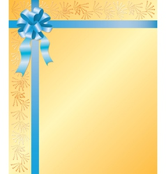 yellow card with blue ribbon vector image vector image