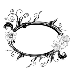 frame with flowers of narcissus vector image