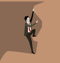 Color scene rock landscape with businessman trying vector