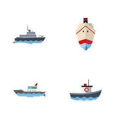 flat icon boat set of sailboat transport vector image vector image