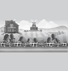 grey country landscape with field vector image vector image