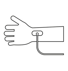 Hand transfusion drop thin line vector