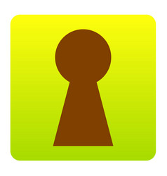keyhole sign brown icon at vector image