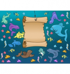 marine life surrounding a map vector image vector image
