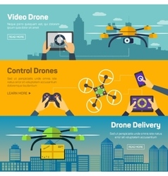 Set of drone banners - shipping surveillance vector image