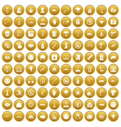 100 oppression icons set gold vector