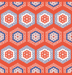 1950s style hexagon patchwork dot seamless vector image