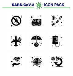 9 solid glyph black coronavirus epidemic icon vector