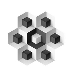 Abstract geometric object with cubes on white vector