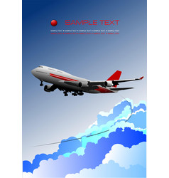 Aircraft poster with passenger airplane image vector