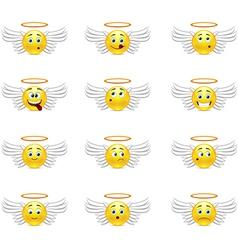 Angels smilies vector