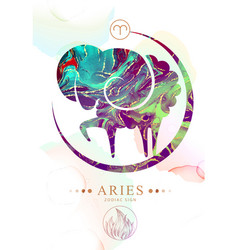 Aries zodiac sign with alcohol ink texture vector