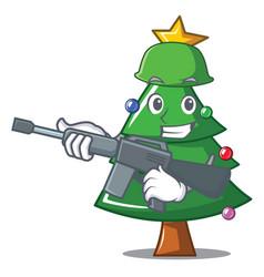Army christmas tree character cartoon vector