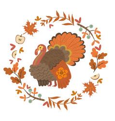 Autumn wreath and turkey isolate on a white vector